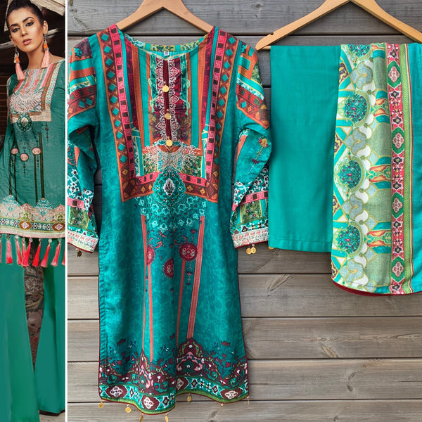 Maria B Inspired Teal Green Linen Kameez Palazzo Shawl Suit - WANT THAT LABEL
