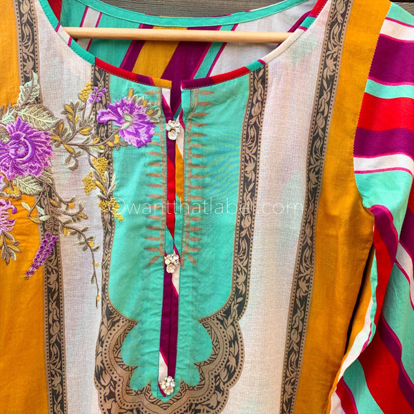 Sana Safinaz Inspired Blue Yellow Embroidered Lawn Suit - WANT THAT LABEL