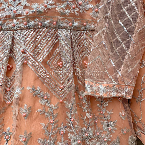 Limited Edition Peach Silver Peplum Sharara Embroidered 3 Piece Suit - WANT THAT LABEL