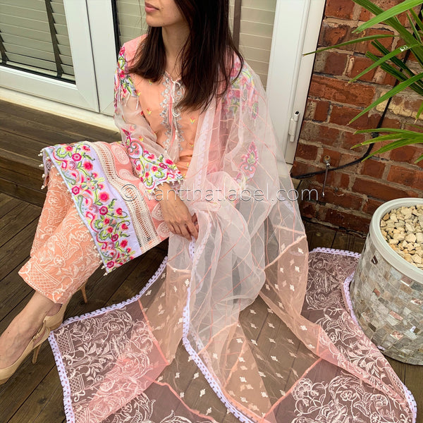 Peach Pink Embroidered 3 Piece Cotton Suit