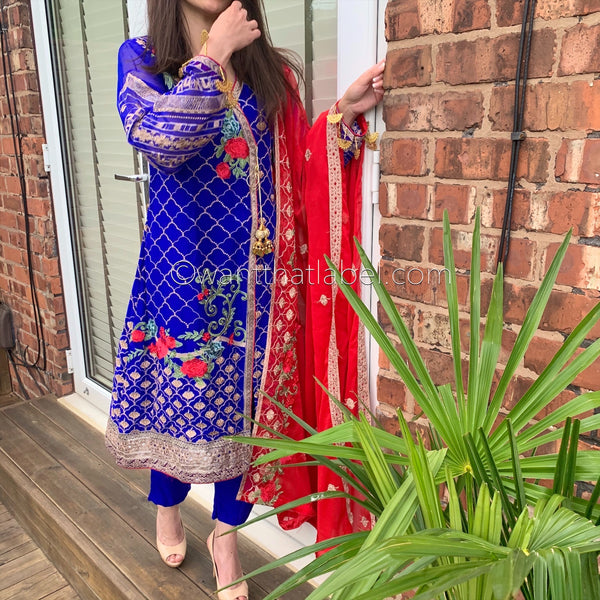 Afrozeh Royal Blue Red Embroidered Chiffon Angrakha Suit