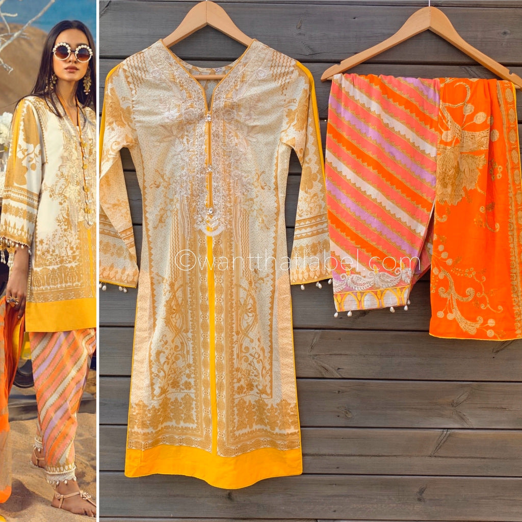 Sana Safinaz Inspired Yellow Orange Embroidered Lawn Suit - WANT THAT LABEL