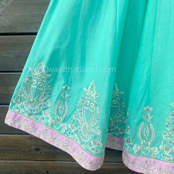 Blue Pink Embroidered Cotton Waist Coat Midi Dress Suit