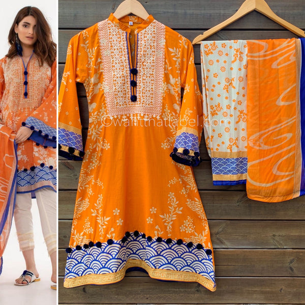 Khaadi Inspired Orange A-Line Dress Suit