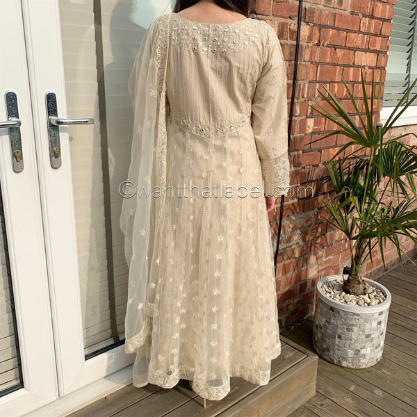 Cream Net Mirror Embroidered Maxi Dress Suit