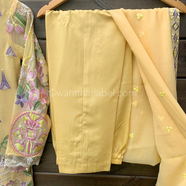 Jazmin Inspired Yellow Chiffon Embroidered 3 Piece Suit