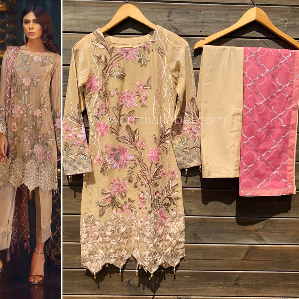 Jazmin Inspired Skin Pink Embroidered 3 Piece Chiffon Suit