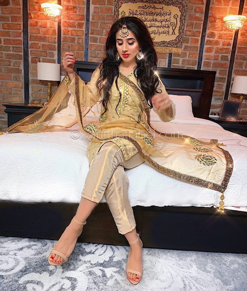 Gold Messoori Mirror Hand Embroidered 3 Piece Suit