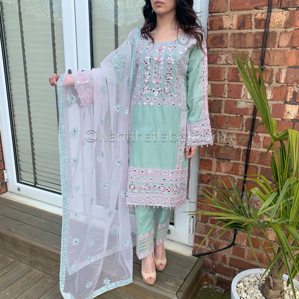 Green Pink Heavily Mirror Embroidered Suit