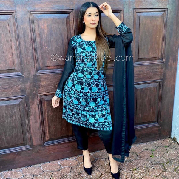 Areeba Saleem Original Black Blue Embroidered Suit