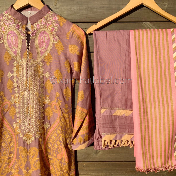 Sana Safinaz Inspired Baby Pink Lilac Embroidered Winter Linen Suit