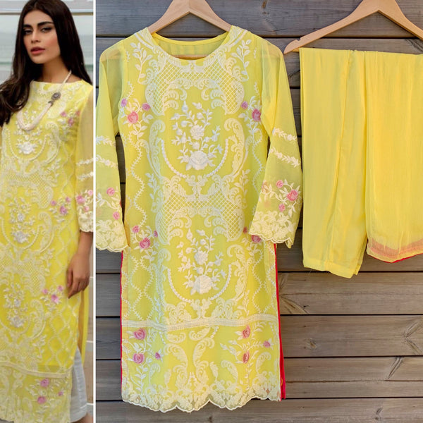 Azure Inspired Yellow Embroidered 3pc Chiffon Suit - WANT THAT LABEL