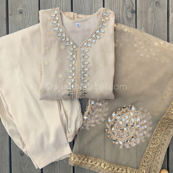 PRE-ORDER Gold Messoori Mirror Hand Embroidered 3 Piece Suit