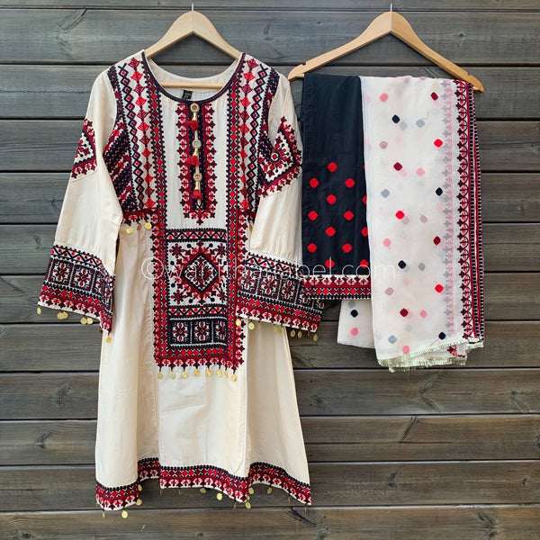 PRE-ORDER Cream Red Black Embroidered Lawn Frock Suit