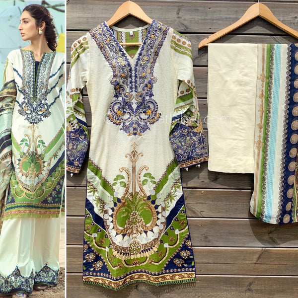 Firdous Inspired Cream Green Embroidered 3 Piece Suit