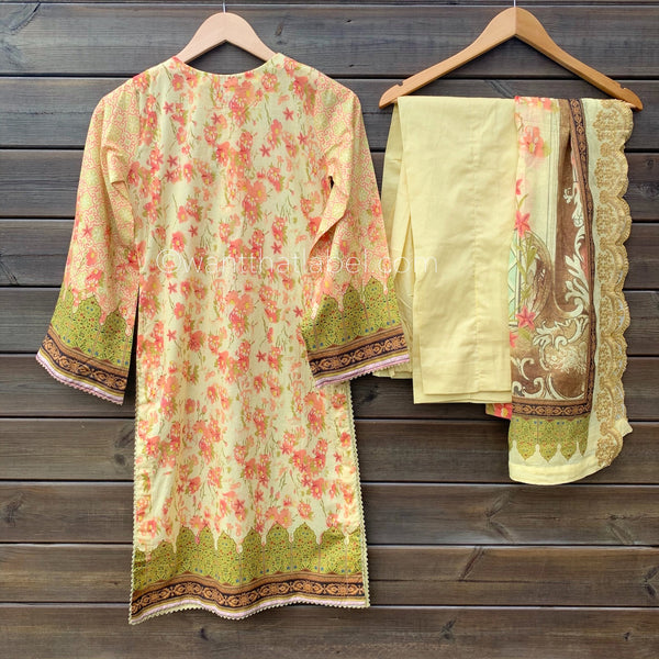 Bin Saeed Original Golden Floral Embroidered 3 Piece Lawn Suit