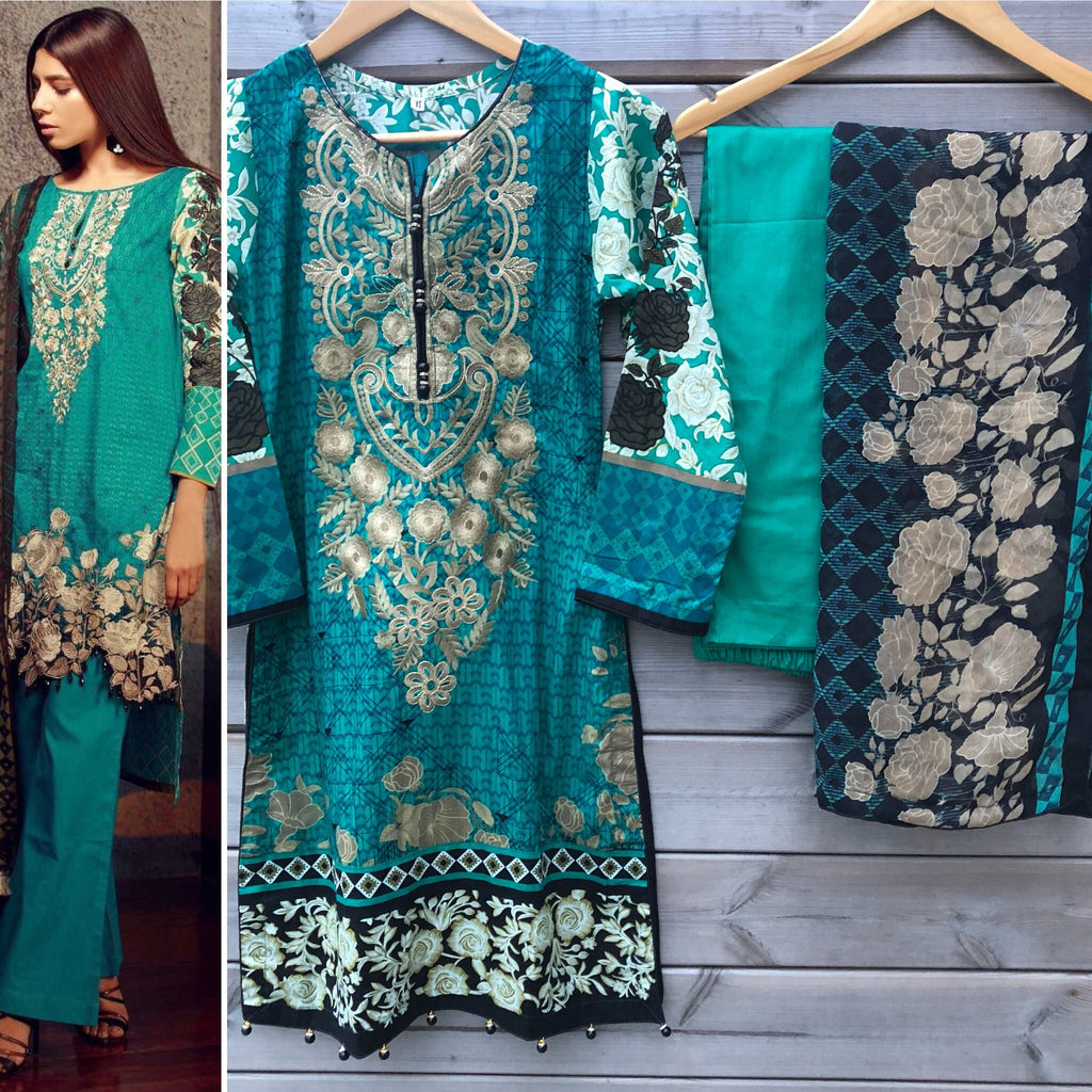 1b10c785be Want That Label | Khaadi Inspired Sea Green Embroidered Lawn 3 piece ...