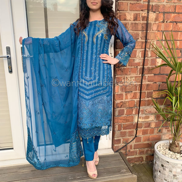 Rang Rasiya Inspired Teal Gold Embroidered Chiffon Suit