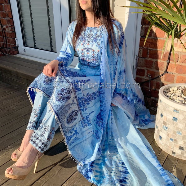 Asim Jofa Inspired Light Blue Embroidered A-line Lawn Suit