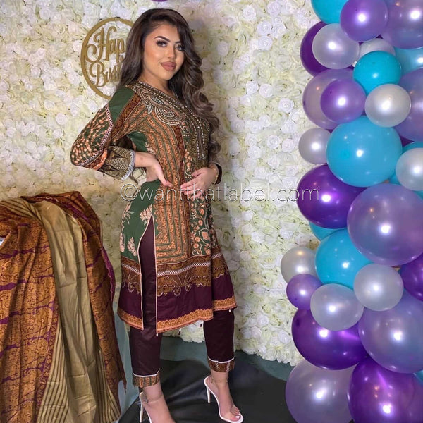 Sana Safinaz Inspired Mehndi Green Plum V-Neck Embroidered Suit