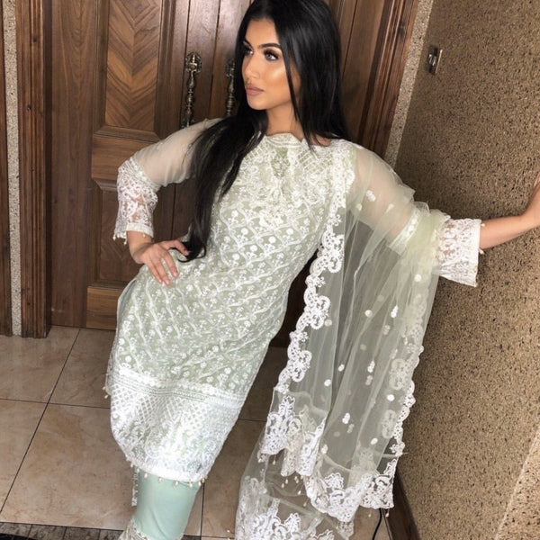 PRE-ORDER Anaya Inspired Green White Embroidered Chiffon 3 Piece Suit - WANT THAT LABEL