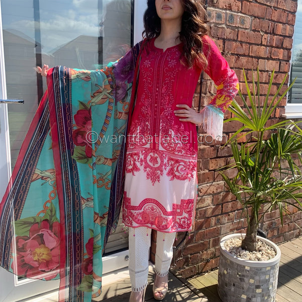 Maria B Inspired Hot Pink Embroidered Lawn Suit