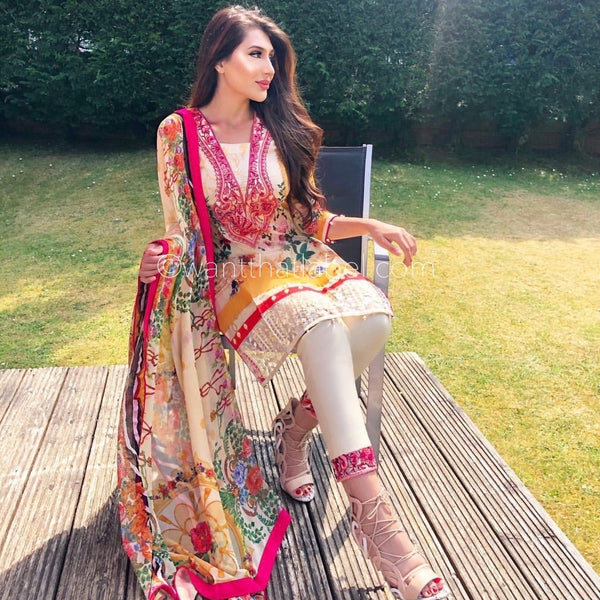 Zaha Inspired Yellow Embroidered Lawn 3 Piece Suit