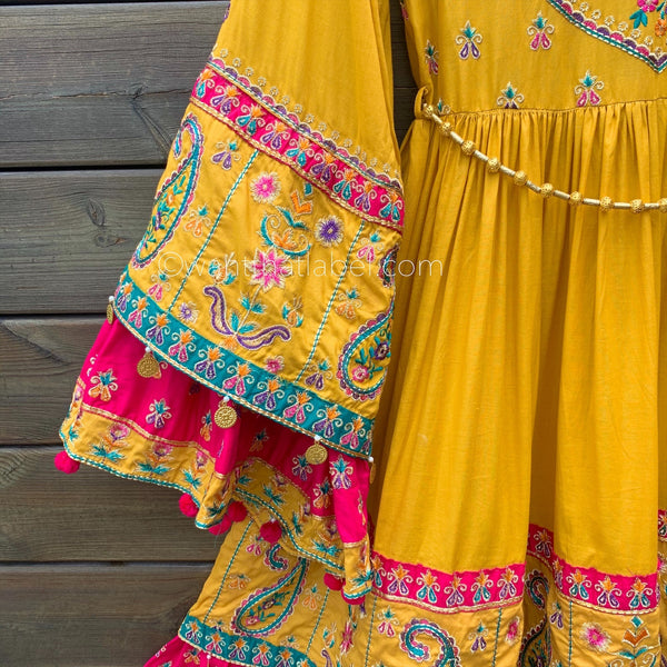 Yellow Pink Balochi Embroidered Layered Frock Suit