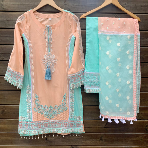Peach Blue Embroidered 3 Piece Cotton Suit