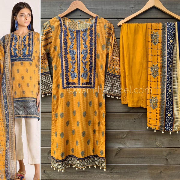 Khaadi Inspired Mustard Navy Lawn 3 Piece Suit - WANT THAT LABEL