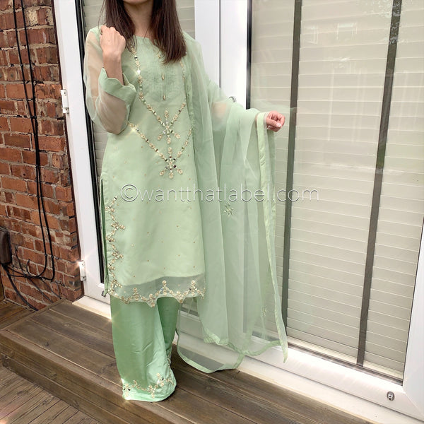 Ayat Original Green Mirror Embroidered 3 Piece Suit