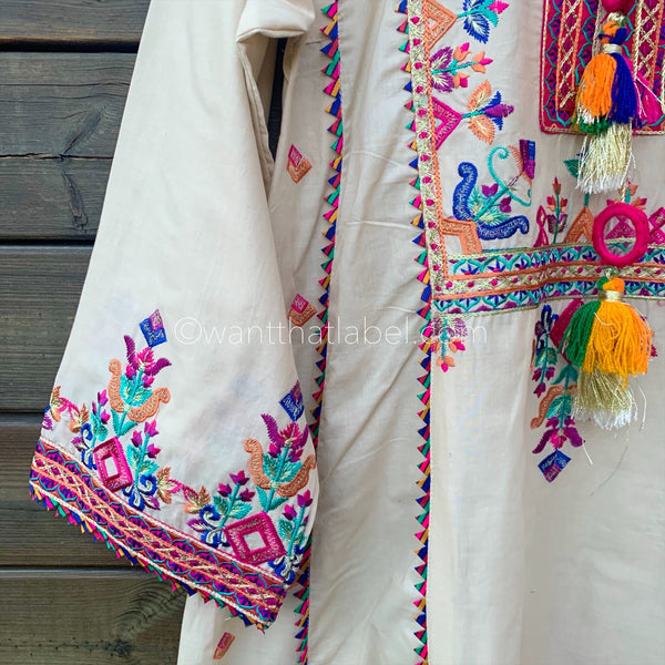 Beige Embroidered Lawn A-Line Dress Suit