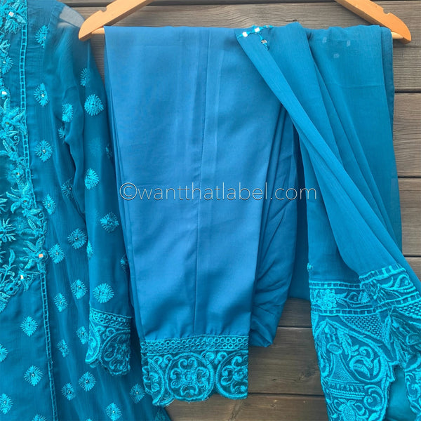 Faiza Saqlain Inspired Turquoise Blue Embroidered Chiffon A-Line Suit