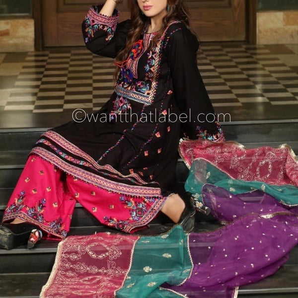Black Embroidered Lawn A-Line Dress Suit