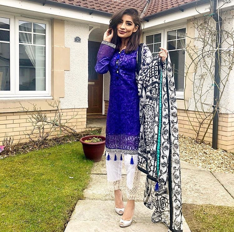 fcb588fb53 Want That Label | Maria B Inspired Purple Embroidered Lawn 3 piece ...