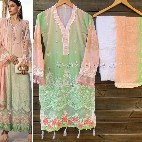 Maria B Inspired Ombre Pink Green Chikankari Lawn Suit