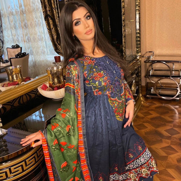 Maria B Inspired Navy Khaddar 3 Piece Frock Suit - WANT THAT LABEL