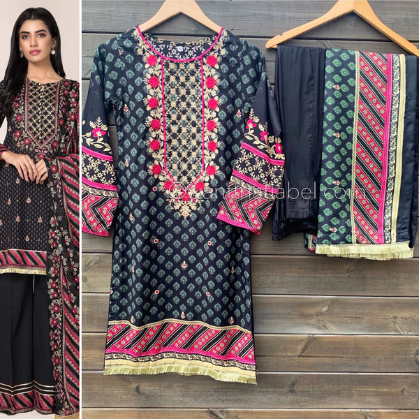 Kayseria Inspired Black Pink Embroidered Linen Suit