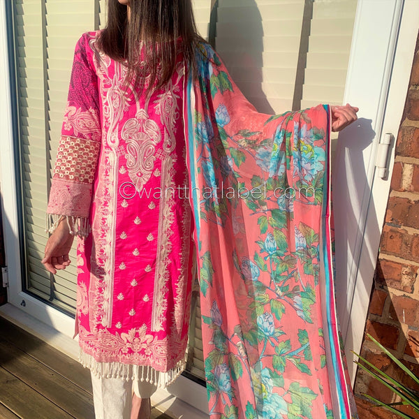 Sana Safinaz Inspired Hot Pink Embroidered Lawn Suit