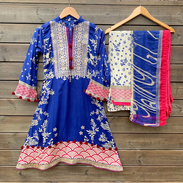 Khaadi Inspired Blue Red A-Line Dress Suit