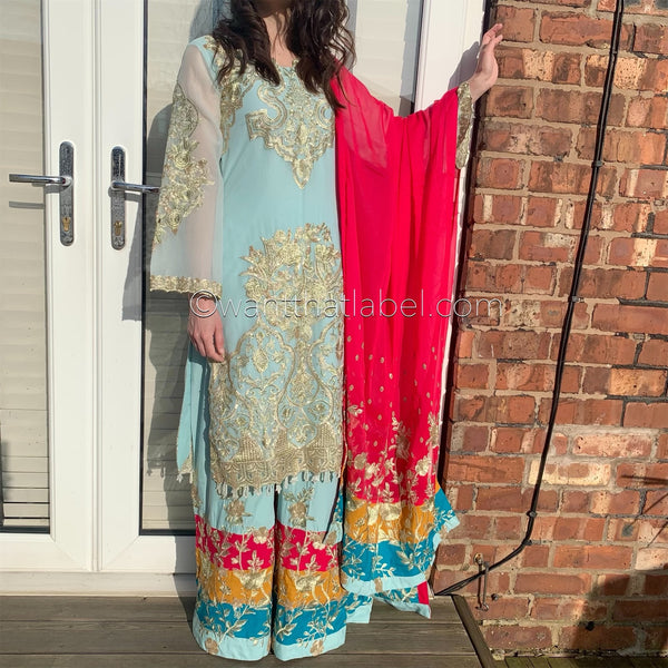 Imrozia Inspired Pale Blue Heavily Embroidered Chiffon Suit