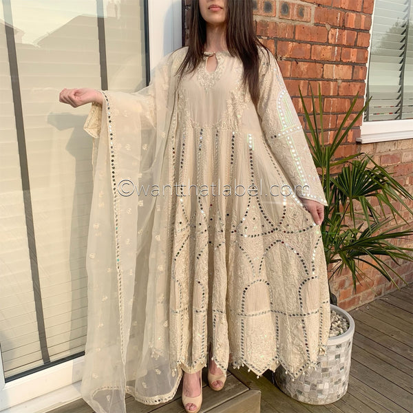 Beige Heavy Mirror Embroidered Maxi Dress Suit