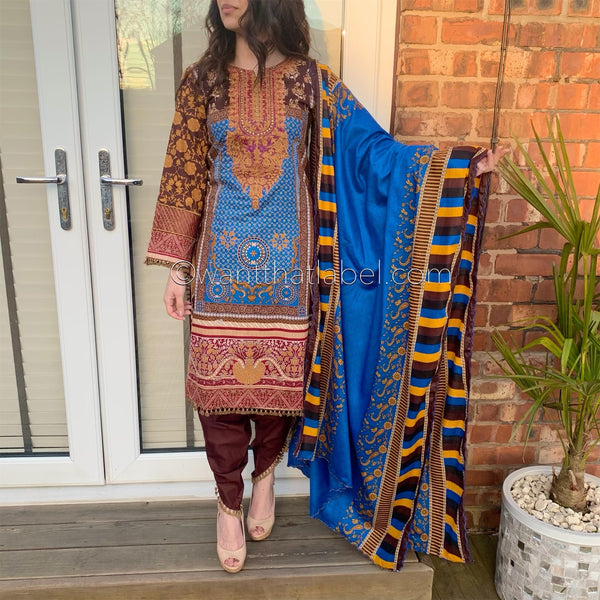 Sana Safinaz Inspired Blue Brown Embroidered Suit
