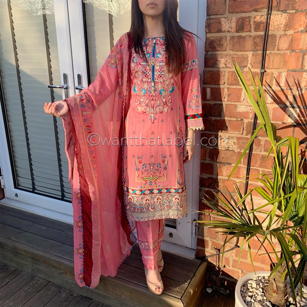 Asim Jofa Inspired Pink Embroidered Lawn Suit