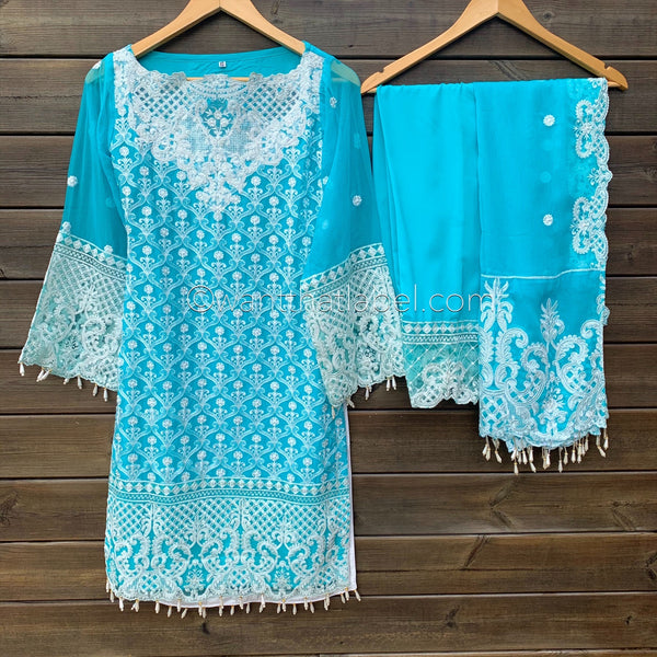 Anaya Inspired Ferozi Blue White Embroidered Chiffon 3 Piece Suit