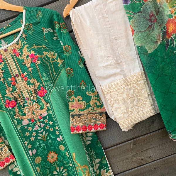 Gulaal Inspired Green Embroidered Lawn Suit - WANT THAT LABEL