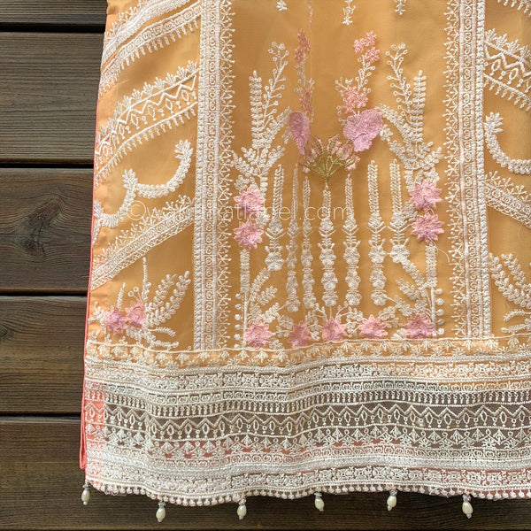 Sobia Nazir Inspired Peach Embroidered Net Suit