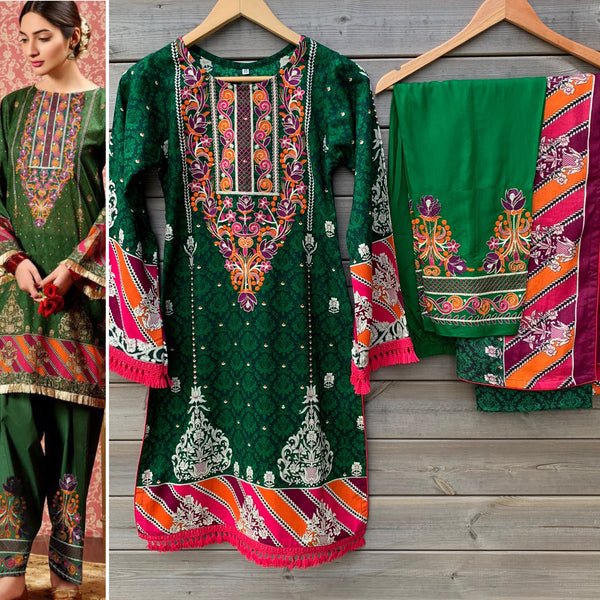 Kayseria Inspired Green Embroidered Linen Kameez Trouser Suit - WANT THAT LABEL