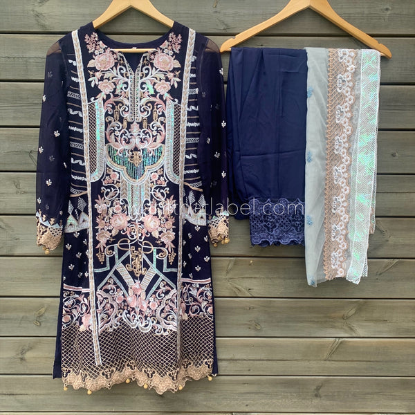 Baroque Inspired Navy Embroidered Chiffon 3 Piece Suit