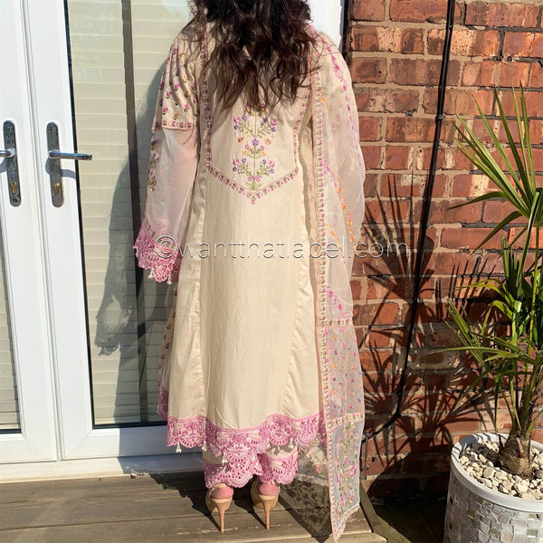 Beige Heavily Embroidered A-Line Dress Suit